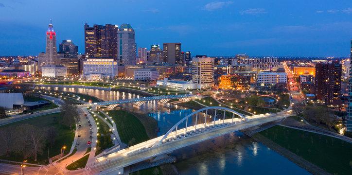 Night Falls on the Downtown Urban Core of Columbus Ohio