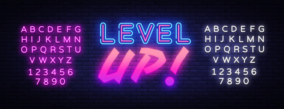 Level UP neon sign vector. Gaming Design template neon sign, light banner, neon signboard, nightly bright advertising, light inscription. Vector illustration. Editing text neon sign