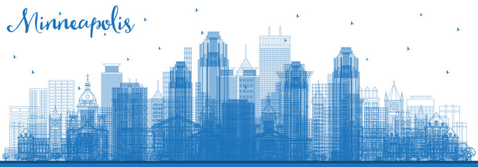 Wall Mural - Outline Minneapolis Minnesota USA Skyline with Blue Buildings.