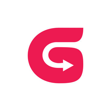 letter g simple curves arrow logo vector