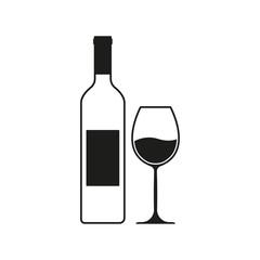 Fototapeta Wine bottle with wine glass icon or silhouette. Alcohol symbol. Vector illustration. obraz