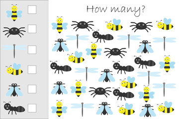 How many counting game with insects for kids, educational maths task for the development of logical thinking, preschool worksheet activity, count and write the result, vector illustration