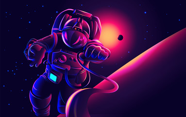 A conceptual illustration of an astronaut in space.