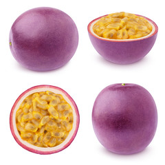 Set of juicy passion fruits isolated on a white.