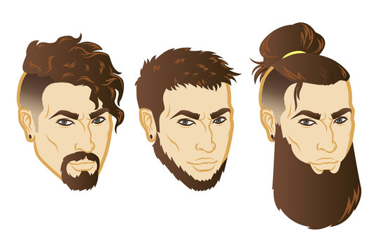 Set of Vector men face hipster head with haircuts. For avatars, emblems and icons, labels