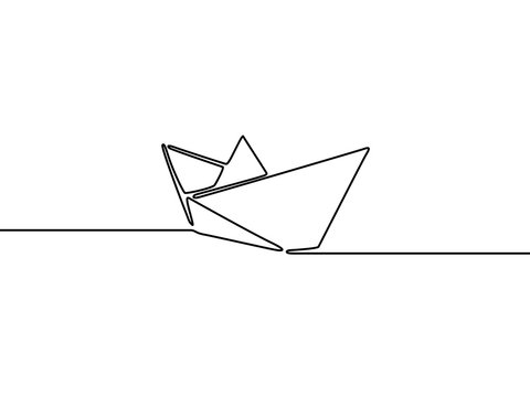 Continuous one line paper ship. Vector illustration.