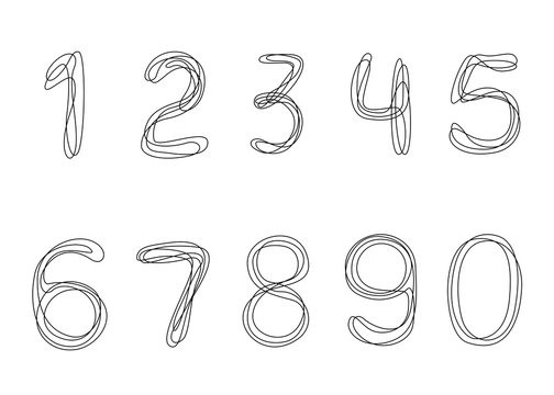Continuous line drawing Numbers from 0 to 9