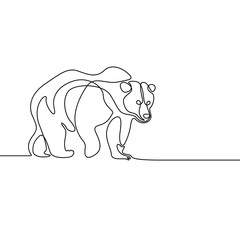 Continuous one line going bear. Vector illustration.