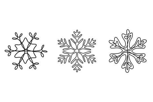 Continuous one line set of snowflakes, winter theme.