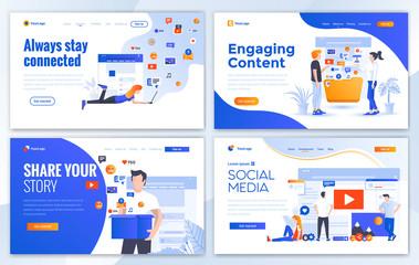 Flat Modern design of website template - Social media