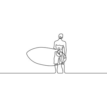 Continuous line guy stand up with paddleboard or surfboard. Vector illustration.
