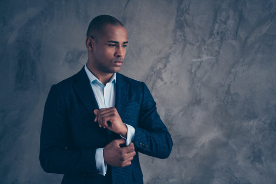 Portrait classy chic manager worried agent dream dreamy touch fashionable jacket look think thoughtful short hair bald wealthy elegant thoughts pensive modern clothing isolated grey background