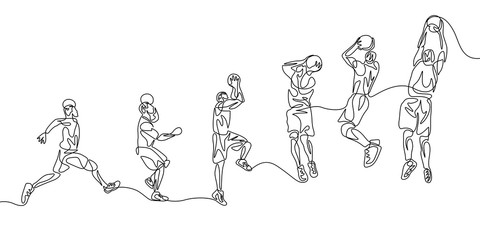 Continuous one line basketball player step by step doing slam dunk