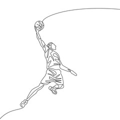 Continuous one line drawing basketball player jumps doing slam dunk