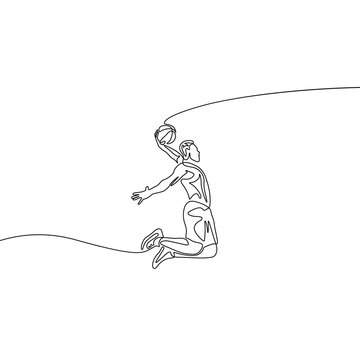 Continuous one line drawing basketball player doing slam dunk