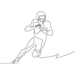 Continuous one line drawing american football player going to make pass