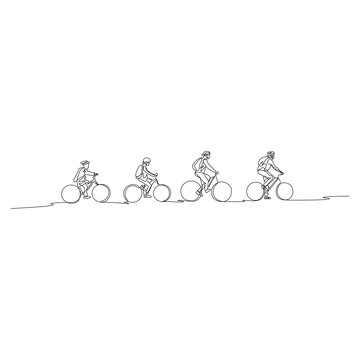 Continuous one line family on bicycles go to walk. Family concept