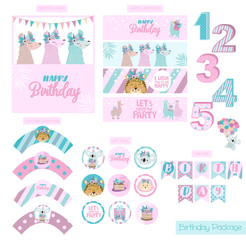 Birthday party package collection with fun animals. Festive set of labels, wrappers, flags, numbers and cards. Editable vector illustration