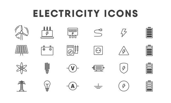 Electricity line icon set. Vector