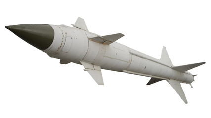 A missile with a warhead on a white background isolated. Weapons of mass destruction, chemical, nuclear. artillery rocket bomb