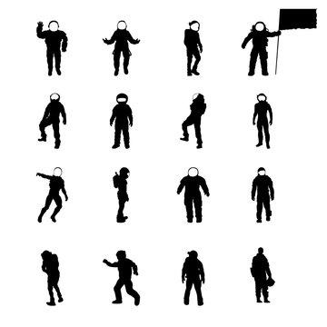 Silhouettes of Cosmonauts set, vector