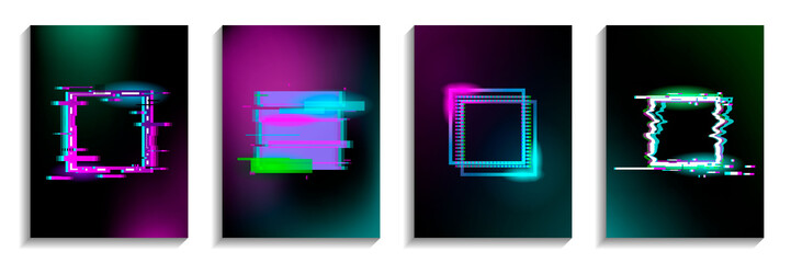 Set of Glitch squares with neon effect. Distorted shapes. Vector illustration with geometrical figures. Design for business and gift cards, invitations, covers, banners, flyers, posters.