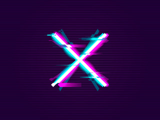 Glitched cross or X Design. Distorted Glitch Style. Glow Design for Graphic Design - Banner, Poster, Flyer, Brochure, Card. Vector Illustration.
