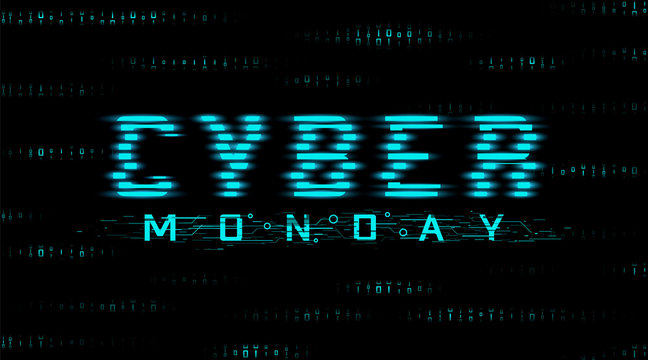 Cyber monday sale banner. Hud style, glitch effect. Binary code background. Vector.
