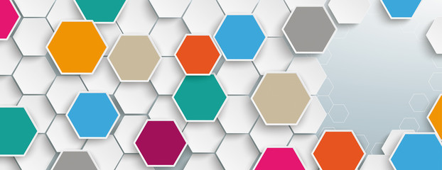 Colored Hexagon Structure Medical Icons Header