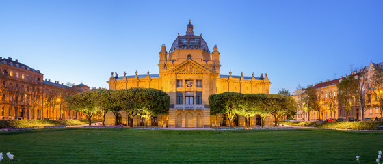 Panoramic View of the Art Pavilion at Dusk in Zagreb - Croatia Wall mural