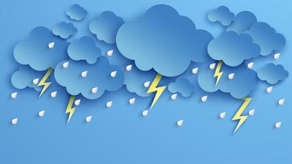 Illustration of Cloud and rain on blue background. heavy rain, rainy season, Overcast sky and lightning in the rainy season. Fotobehang