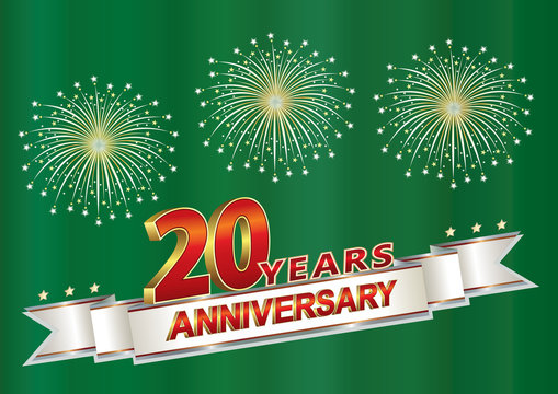 20 years anniversary postcard with salute on a green background with silver ribbon.Vector illustration
