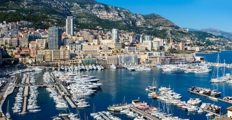 Monaco, Panoramic view of Monaco harbor