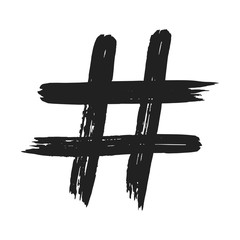 Hand drawn brush stroke dirty art hashtag symbol icon sign isolated on white background. Black and white composition of the symbol hashtag #