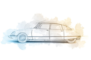 Sketch of a Streamlined 1968 French automobile