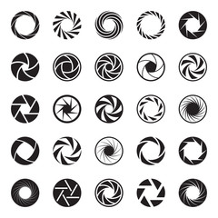 Camera Aperture icons. Shutter icons. Collection of 25 Back Symbols of Camera Iris Diaphragm Isolated on a White Background. Signs of Photo, Photography, Lens, etc. Vector Illustration