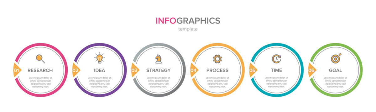 Infographic design with icons and 6 options or steps. Thin line vector. Infographics business concept. Can be used for info graphics, flow charts, presentations, web sites, banners, printed materials.