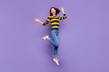 Wall Mural - Full length body size side profile photo beautiful amazing she her lady excited jump high flight party person people energetic wear blue yellow striped pullover isolated violet purple background