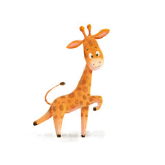 Cute cartoon little giraffe African animal wildlife illustration.