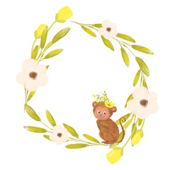 Cute cartoon monkeys and the floral wreath