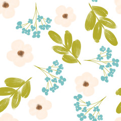 Floral pattern with flowers and leaves. Gentle, spring floral background.