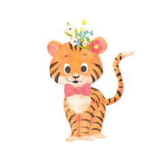 Little cute cartoon tiger with a wreath and bow