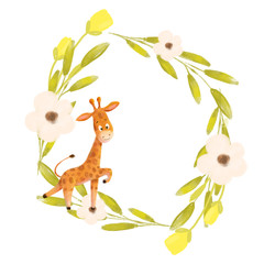 Cute cartoon giraffe and the floral wreath