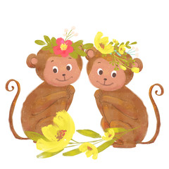 Two cute little monkeys with wreaths and flowers