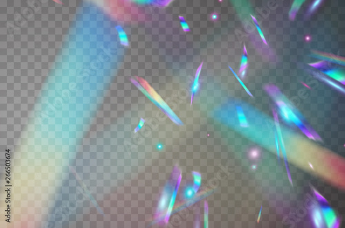 Wall mural Holographic falling confetti isolated on transparent background. Rainbow iridescent overlay texture. Vector festive foil hologram tinsel with bokeh light effect and glare glitter.