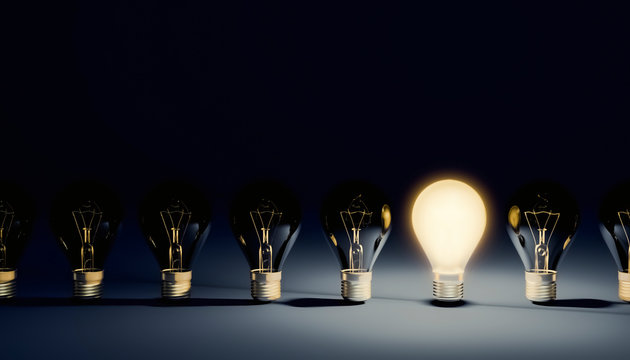 Row of switched off light bulbs with one lit on and shining. Idea, leadership or creativity concepts. 3d rendering illustration with copy space.
