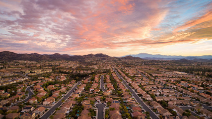 Printed roller blinds Deep brown aerial photo of residential homes in california