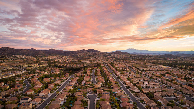 aerial photo of residential homes in california