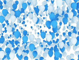 Balloons background - Blue and white 3d render balloons isolated on white background