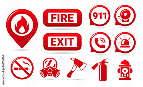 Set of fire safety icons  Fire emergency icons set  Vector symbols